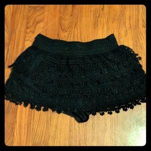 Flirty black crochet skort